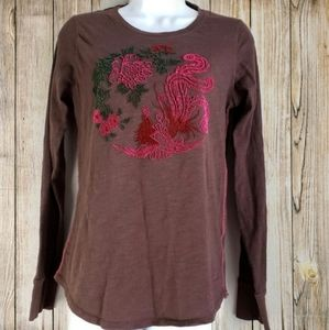Lucky Brand crew neck embroidered t-shirt sz Small